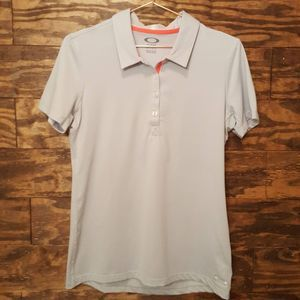 3/50% OAKLEY | Silver Gray Short Sleeve Polo Med